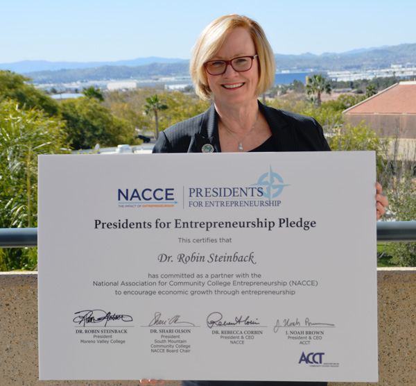 Moreno Valley College President Signs Entrepreneurship Pledge